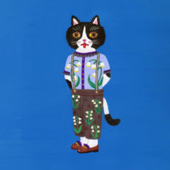 """7cats with lucky motifs """"Lily of the valley""""Acrylic on watercolor paper 397×306 2021"""